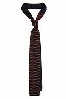 Krawat Granatowy w Pomarańczowe Kropki