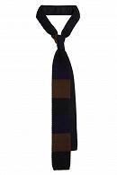 Krawat Granatowy w Paski Dzianinowy