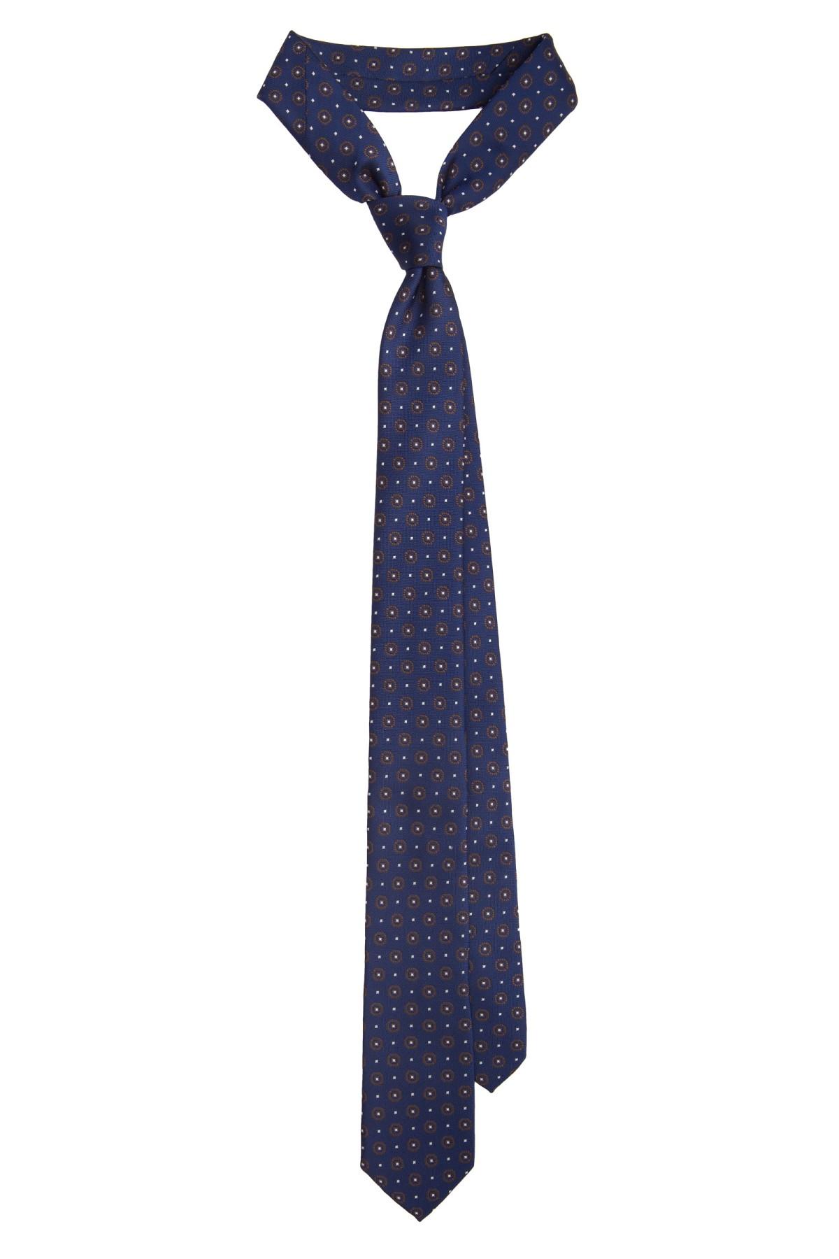 Krawat Granatowy Wzór Geometryczny