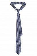 Krawat Granatowo-Srebrny w Paski