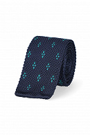 Krawat Granatowy w Zielony Wzór