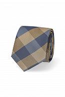 Krawat Granatowo-Złoty w Kratę