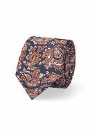 Krawat Granatowo-Pomarańczowy Paisley