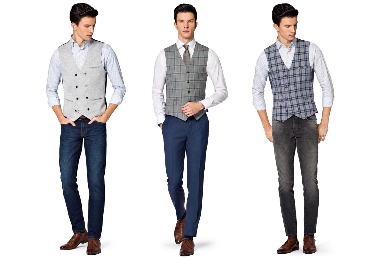 f5ece0b6bf1 Dawniej, nie do zaakceptowania byłoby noszenie garniturowej kamizelki solo  – tylko z koszulą i spodniami chino.